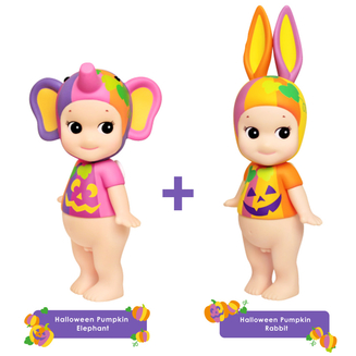 Sonny Angel Stor Halloween Pumpkin 2017 SET - kanin & elefant